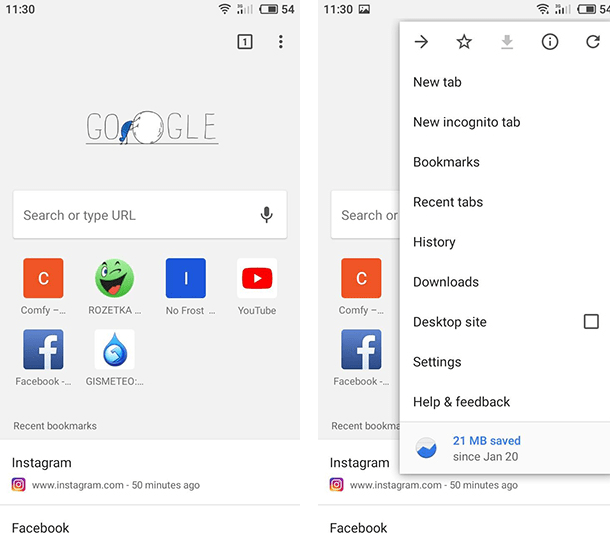 Check Browsing History in Chrome for Android