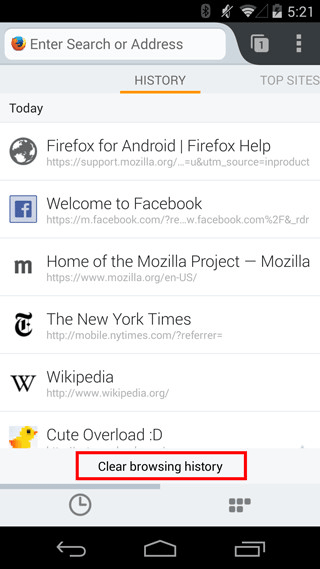 Access History in Mobile Firefox For Android