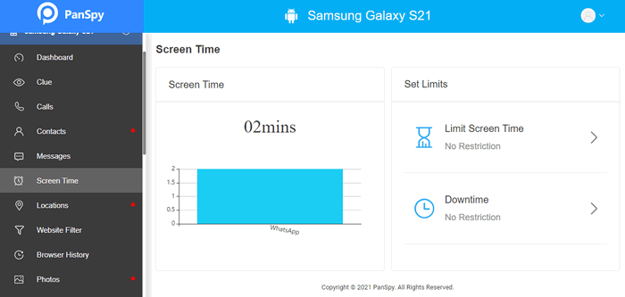 limit screen time on Samsung Galaxy S21