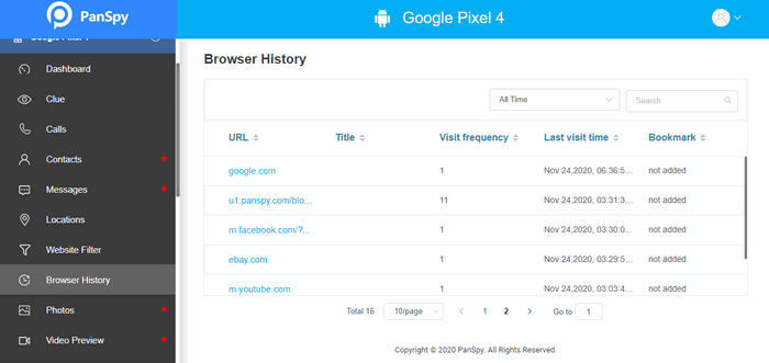 remotely access browser history without knowing