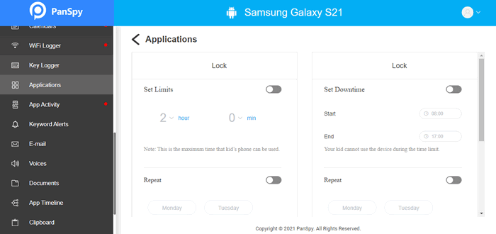 set app time limits on Samsung Galaxy S21